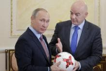 Watch| Putin Plays Football With Infantino 100 Days Before World Cup