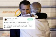 Macron's 'Evil Grin' While Hugging Modi Has Taken Over the Desi Internet