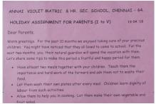 Chennai School's Holiday Assignment Goes Viral And it is Not For Students