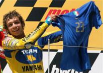 Rossi celebrates win wearing Materazzi