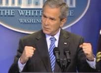 Bush turns laughing stock of the town for his 'hands'
