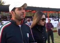 Glam game: Karisma watches hubby play polo