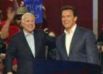 Schwarzenegger campaigns for McCain, ridicules Obama