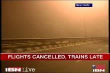 Dense fog over Delhi, flights cancelled, trains late
