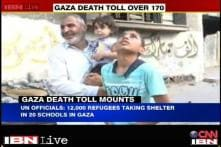 Gaza death toll climbs to 172; refugees take shelter in schools