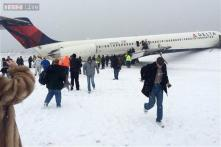 US: Plane skids off LaGuardia runway, crashes into fence; 6 injured