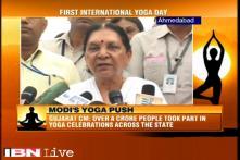 Gujarat CM Anandiben Patel leads Yoga Day demonstrations