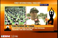 Navy chief RK Dhowan participates in Yoga Day event at Rajpath
