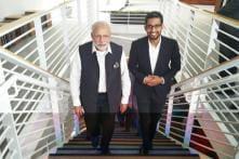 Prime Minister Narendra Modi meets Google, Facebook