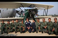 IAF women pilots and vintage flight crew interacts with aviator Tracey Curtis Taylor at Hindon today