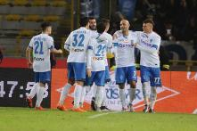 Serie A: Massimo Maccarone celebrates with beer as Empoli beat Bologna 3-2