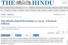 Worst rain in 100 years forces 'The Hindu' to cancel print edition in Chennai