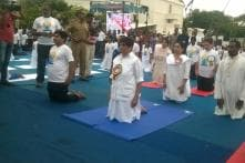 Kiran Bedi Leads Yoga Day event in Puducherry; CM, Ministers Absent