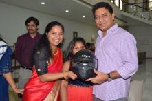 Telangana MP Kavitha Gifts Helmet to Minister-brother on Raksha Bandhan