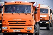 Russian President Vladimir Putin Drives Kamaz Truck to Crimea on New Bridge, Bikers Join the Drive