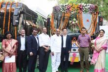 First Made in India e-Buzz K6 Electric Bus Launched by Union Minister Ananth Geete