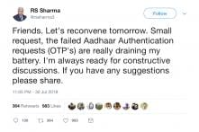 TRAI Chief Continues to Face Fallout Over Aadhaar Tweet Row; His Phone Battery is The Latest Victim
