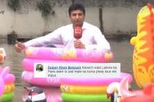 Lahore Journalist Sat in a Floating Baby Pool While Reporting Floods