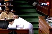 Rahul Gandhi Ends Speech By Hugging PM Modi