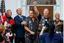 Rain Pouring, Donald Trump Rages on Twitter and Hangs With Bikers