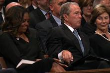 George Bush Sneaks Candy to Michelle Obama During McCain's Funeral, Video Wins Internet
