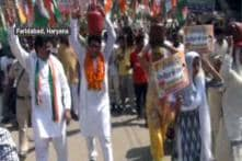 Congress Stages Protest Against Fuel Price Hike In Faridabad