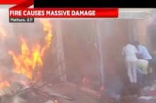 Chaos And Panic Erupted As A Massive Fire Broke Out In A Shop In Mathura