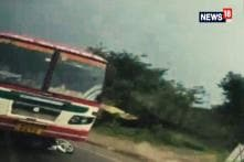 UP Roadways Bus Continues To Run On Highway With Bike Stuck To It