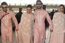 Deepika & Ranveer Look Radiant Twinning in Pink as the Newlyweds Head to Mumbai