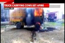 Truck Set On Fire By The Mob in Kathua, Jammu & Kashmir