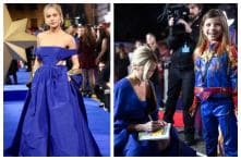 Brie Larson Looks Stunning in Blue, Meets Mini Captain Marvel at London Premiere