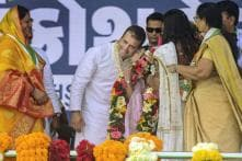 Woman Congress Worker Kisses Rahul Gandhi on Stage in Gujarat