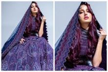 Nora Fatehi Gives Oriental Vibes in Embroidered Purple Lehenga for Moroccan Fashion Event