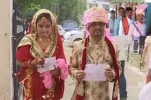 Lok Sabha Elections 2019: Decked-up Newlyweds Arrive at Udhampur Polling Station for Voting