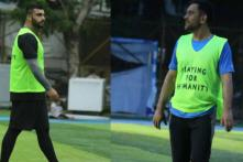 Dhoni Plays Football With Actor Arjun Kapoor in Mumbai