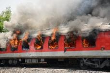 PHOTOS| AP Superfast AC Express Catches Fire Near Gwalior
