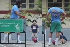 Cute Pictures of Taimur Playing Soccer With Saif Ali Khan