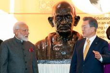 PM Modi in Seoul: Unveils Gandhi Bust at South Korean University