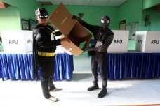 Electoral Workers Turn Batman, Spiderman To Greet Voters at Polling Booths