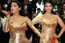 Aishwarya Rai Bachchan Dazzles in a Golden Gown on Cannes Red Carpet