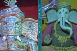 Watch: Raipur Devotees Go Eco-Friendly, Make Ganpati Idol of Grains and Waste Newspapers
