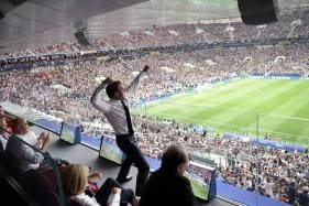 Emmanuel Macron Cheers from the Stands Then 'Dabs' in the Changing Room