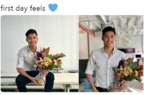 Here's Why This Photo of a Man Posing With a Bouquet of Flowers is Going Viral on Twitter