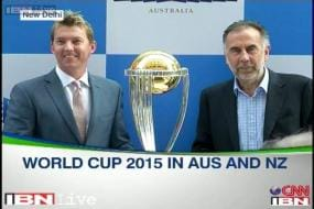Brett Lee unveils the ICC World Cup 2015 trophy