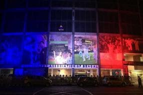 Eden Gardens lit up in colours of French flag