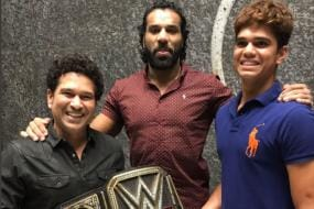 Sachin, Arjun Play Host to WWE Champion Jinder Mahal