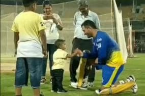 MS Dhoni Takes Time Out from Practice to Meet One of His Youngest Fans