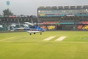 PSL 2018: Helicopter Used to Dry Wet Outfield in Lahore