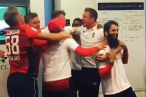 England Cricketers Celebrate Penalty Shootout Victory over Colombia at 2018 World Cup