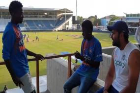 Rohit Sharma Interacts With Jamaican Fans on Sidelines of Test